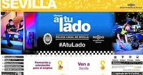 Imagen de la web del Ayuntamiento de Sevilla, cuyo error ya ha sido reparado.