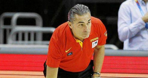 Sergio Scariolo en un entrenamiento de la Selección Española.