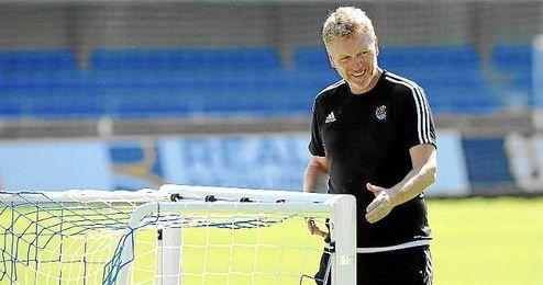 David Moyes, en un entrenamiento de la Real Sociedad.