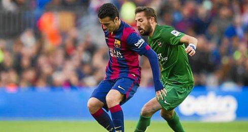 Pedro y Morales en el Camp Nou jugando la 23ª jornada de la pasada campaña.