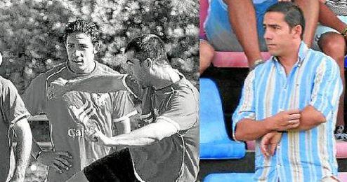 A la izquierda, Juan Carlos, observando el golpeo, en su etapa en el Córdoba; a la derecha, ya en el Écija.