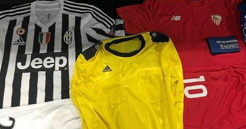 Las equipaciones que se verán está noche en el Juventus-Sevilla.