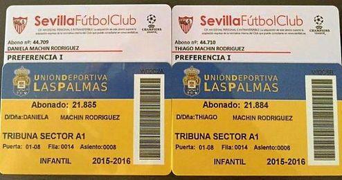 Thiago y Daniela, hijos de Vitolo, ya son abonados del Sevilla FC.