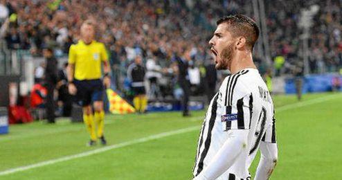 Álvaro Morata celebrando el gol con la Juventus
