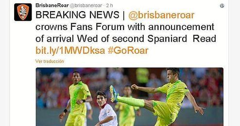 Captura del Twitter del Brisbane Roar Football Club.