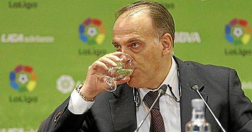 Javier Tebas, en una comparecencia.