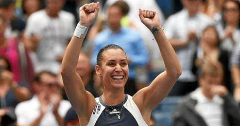 La tenista italiana Pannetta, contenta tras su victoria.