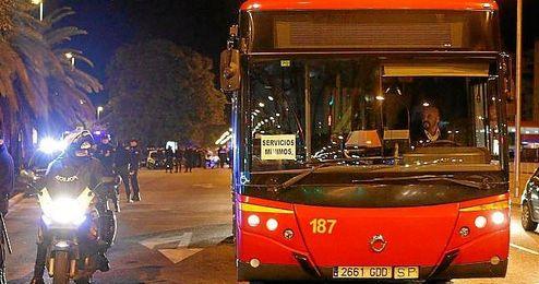 Imagen de archivo de los buses de Tussam.