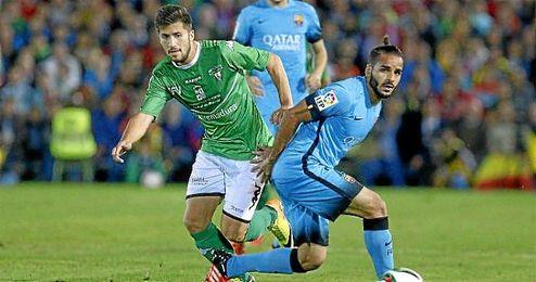 Imagen del partido entre el Villanovense y el Barça en el Romero Cuerda.