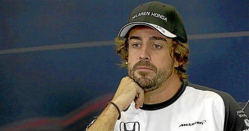 Fernando Alonso, en la rueda de prensa del Gran Premio de México.
