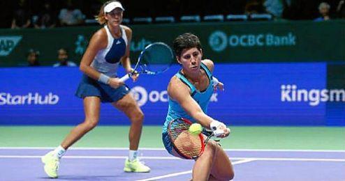 La pareja concluye el Grupo Blanco de dobles con dos triunfos y una derrota.