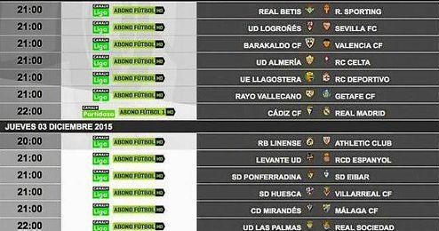 Imagen de los horarios de Copa.