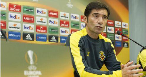 Marcelino, técnico del Villarreal compareciendo ante los medios.