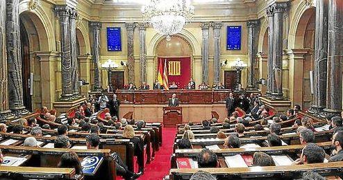 Imagen del Parlament de Catalu�a en el d�a de hoy.