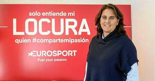 La extenista en la presentación de la nueva imagen de Eurosport.