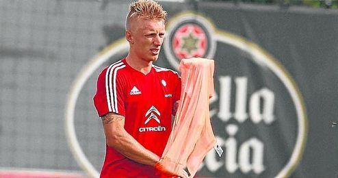 Wass en un entrenamiento con el Celta de Vigo.