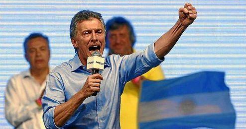 Mauricio Macri celebra su victoria en segunda vuelta.
