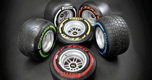 Gama de neumáticos de la marca Pirelli.