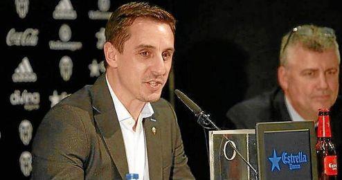 Gary Neville, en su presentación como nuevo entrenador del Valencia.