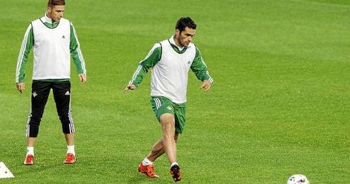 Molina, en un entrenamiento junto a Joaquín.