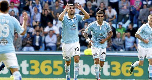 Nolito celebra uno de los ocho goles que ha marcado esta temporada.