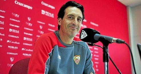 Emery, técnico del Sevilla, en sala de prensa.