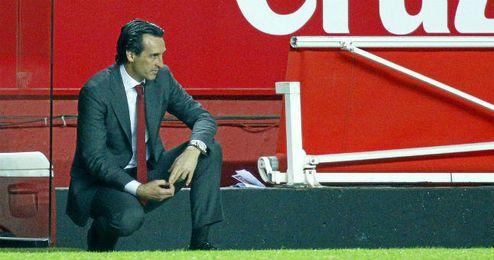 Unai Emery, durante el partido frente al Sporting de Gijón.
