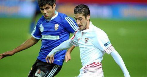 Escudero, en el partido ante el U.D. Logroñés.