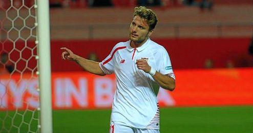 Immobile celebra un gol en Copa del Rey; el italiano podría salir cedido.