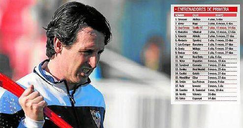 Imagen del primer entrenamiento de Unai Emery como técnico del Sevilla, el 14 de enero de 2013.
