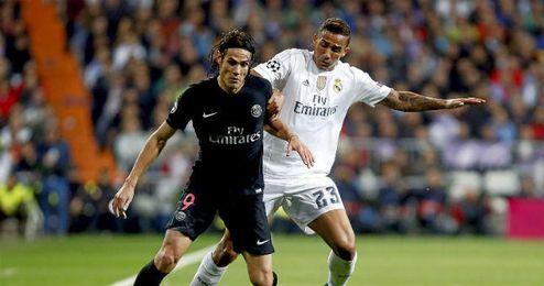 Cavani durante el partido de Champions ante el Real Madrid.