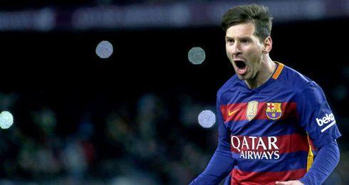 El delantero del F.C Barcelona, Leo Messi, celebrando un gol.