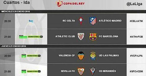 Horarios de la ida de cuartos de final de la Copa del Rey - Estadio ...