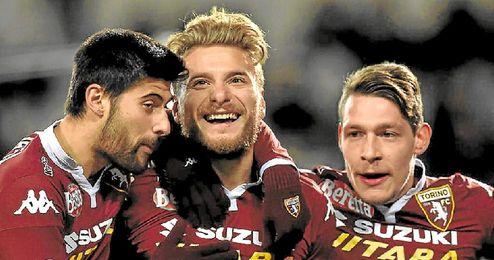 Immobile celebra su primer gol con el Torino.