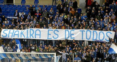 Pancarta mostrada en Cornellà por la afición del Espanyol.