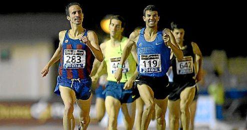 Olmedo, a la izquierda, en el Campeonato de España de 2014.