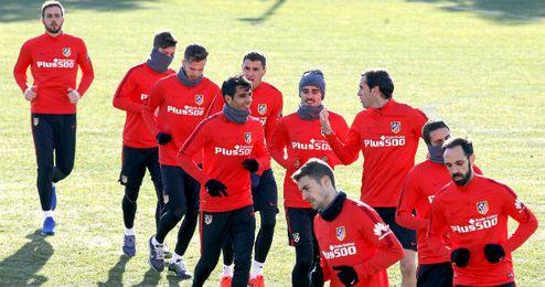 El Atlético ha entrenado con la vista puesta en el Sevilla