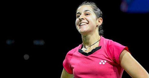 La jugadora de bádminton Carolina Marín, celebrando una victoria.