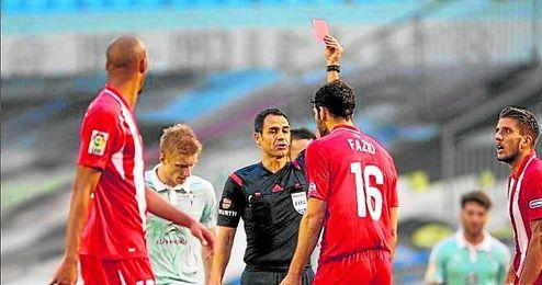 Fazio fue expulsado en la primera mitad ante el Celta de Vigo.