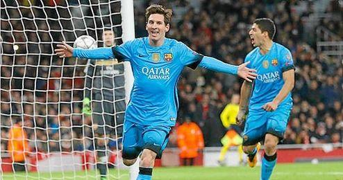 Leo Messi, celebrando el gol 10.000 del FC Barcelona.