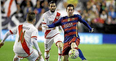 Messi, en un lance del partido de Vallecas.