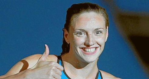 En la imagen, la nadadora Katinka Hosszu celebrando uno de sus triunfos.
