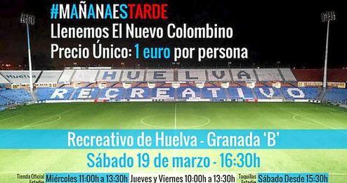 Imagen del cartel anunciador del choque entre el Recreativo de Huelva y el Granada ´B´.