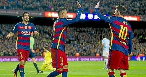 En la imagen, Su�rez, Messi y Neymar celebran un tanto frente al Celta de Vigo.