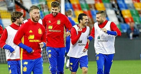 Imagen de un entrenamiento de la selección española.