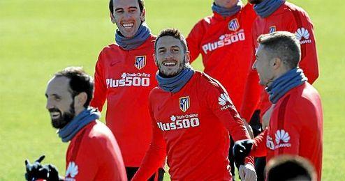Koke, en un entrenamiento con el Atlético.