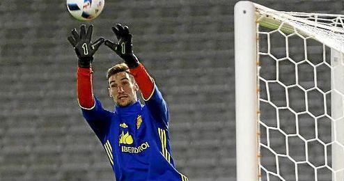 Rico, en un entrenamiento con la selección española.