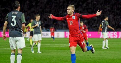 Vardy celebra su gol en el amistoso ante Alemania.