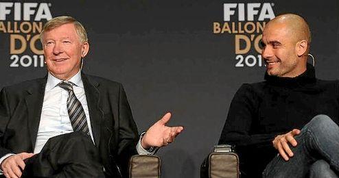 En la imagen, Alex Ferguson y Pep Guardiola compartiendo una charla.