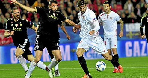 Partido de la fase de grupos de la Champions entre el Sevilla y la Juventus.